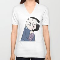 kiss V-neck T-shirts featuring Kiss by Pendientera