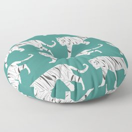 Tiger Print Teal Floor Pillow