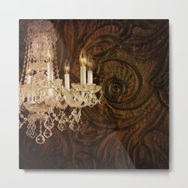rustic western country leather texture crystal chandelier Metal Print