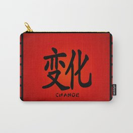 """Symbol """"Change"""" in Red Chinese Calligraphy Carry-All Pouch"""
