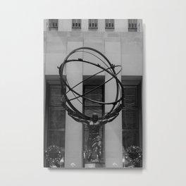 NYC Atlas in Rockefeller Center Statue in Black and White Metal Print