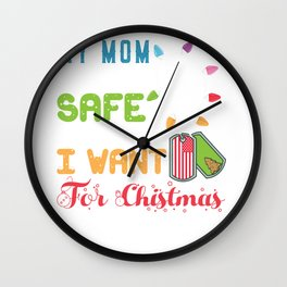 Mom Home Safe for Christmas Mother  Military Deployment  Wall Clock