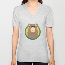 Nerd Brown Bear with cirlce Unisex V-Neck