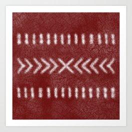 Minimalist Tribal Pattern on oxblood red Art Print