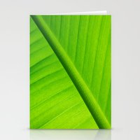 banana leaf Stationery Cards featuring Upclose Banana Leaf by Erin Mac Photography