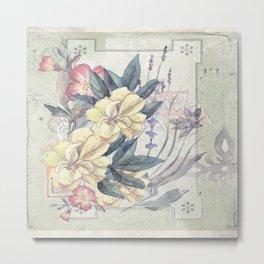 Vintage Yellow Wildflowers Metal Print