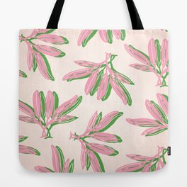 Botanic Leaf Pattern in pink and green over light pink background Tote Bag