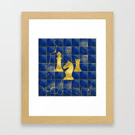 Lapis Lazuli Chessboard and Gold Chess Pieces Framed Art Print
