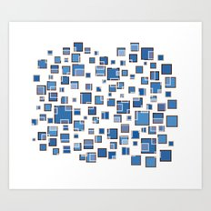 Blue Abstract Rectangles 409 Art Print