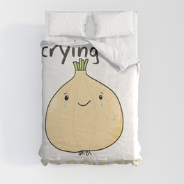 kawaii onion crying of happiness love pun meme  Comforters