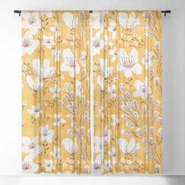 Yellow Meadow of Flowers Sheer Curtain