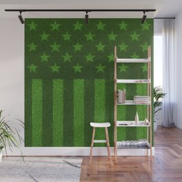 The grass and stripes / 3D render of USA flag grown from grass Wall Mural