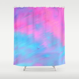 Modern artistic pink teal watercolor brushstrokes Shower Curtain