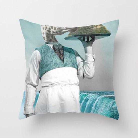 giraffe waiter with bombe alaska Throw Pillow