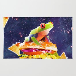 Space Red Eye Tree Frog Riding Burger With Nachos Rug