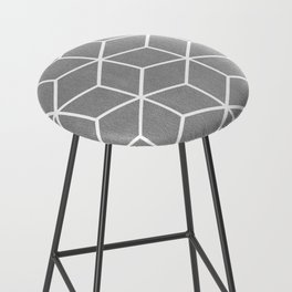 Light Grey and White - Geometric Textured Cube Design Bar Stool