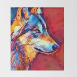 Wolf Portrait 2 Throw Blanket