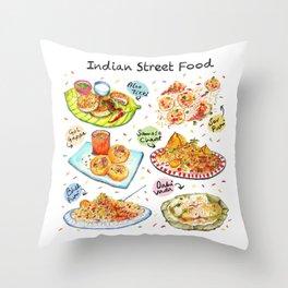 Indian Street Food Throw Pillow