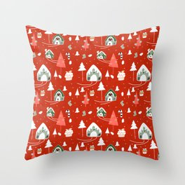 gingerbread house red #Christmas #Holiday Throw Pillow