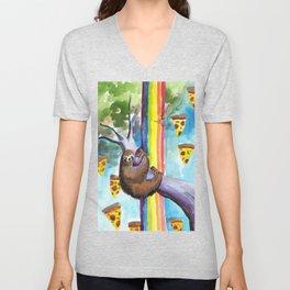 sloth pizza rainbow Unisex V-Neck