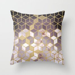 Shades Of Pink Cubes Pattern Throw Pillow