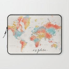 """Explore"" - Colorful watercolor world map with cities Laptop Sleeve"