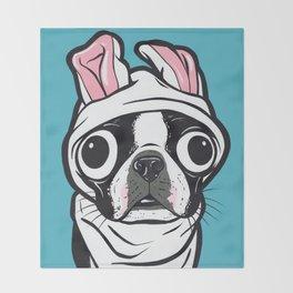 Boston Terrier Bunny Throw Blanket