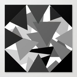 Abstract Simple Art Monochrome Grey Triangles Canvas Print