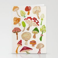 mushrooms Stationery Cards featuring Mushrooms by Cat Coquillette
