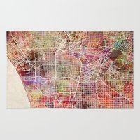 los angeles Area & Throw Rugs featuring Los Angeles by Map Map Maps