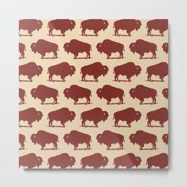 Buffalo Bison Pattern 276 Sienna Metal Print