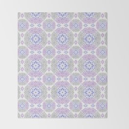 Delicate lace lilac and grey pattern . Throw Blanket
