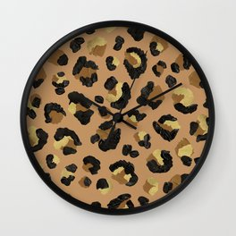 Leopard Print – Neutral & Gold Palette Wall Clock
