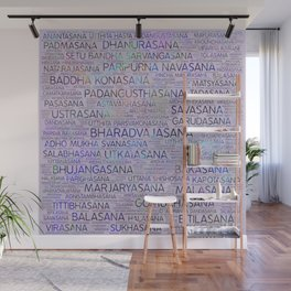 Yoga Asanas/Poses Sanskrit Word Art Wall Mural