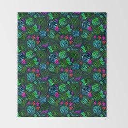 Watercolor Floral Garden in Electric Black Velvet Throw Blanket