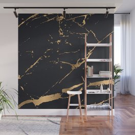 Black and gold faux marble Wall Mural