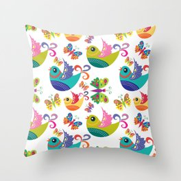 Birds and Butterflies Pattern Throw Pillow