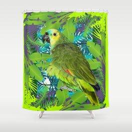 DECORATIVE GREEN PARROT JUNGLE GRAY-GREEN ART Shower Curtain