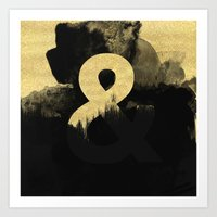 black and gold Art Prints featuring Black & Gold by Tamsin Lucie