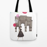 balloons Tote Bags featuring Balloons by Emma Block