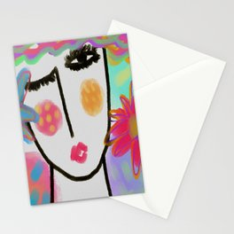 Woman with Flowers Abstract Digital Painting Stationery Cards