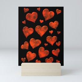 Rusty Red Metallic Hearts Pattern Mini Art Print