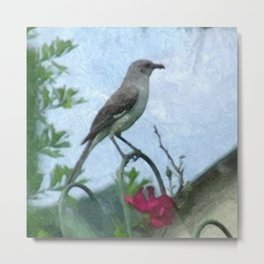 Mocking Bird and Vintage Red Rose Metal Print