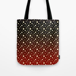 Gold stars on a crimson, black, and red gradient. Tote Bag