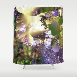Floral fractals mixed reality Shower Curtain
