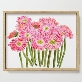 Pink Gerbera Daisy watercolor Serving Tray