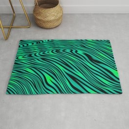 Neon Green and Black Jungle Stripes Pattern Rug