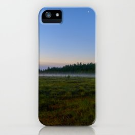 Blue clear moonlit sky over a swamp iPhone Case
