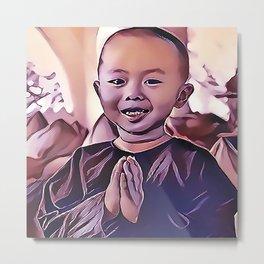 Young Buddhist Boy Praying Metal Print