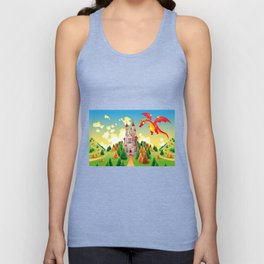 Panorama with medieval castle and dragon. Unisex Tank Top